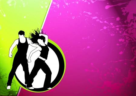 chicas bailando: Color de fondo abstracto Zumba Fitness baile con el espacio Foto de archivo