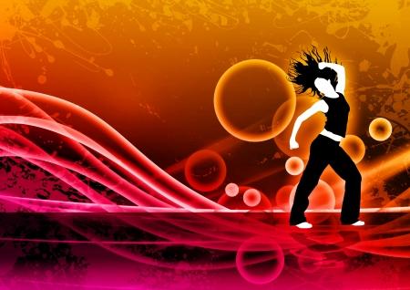 baile latino: Color de fondo abstracto Zumba Fitness baile con el espacio Foto de archivo