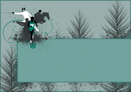 pentathlon: Abstract grunge pentathlon sport background with space