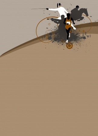 Abstract grunge pentathlon sport background with space photo