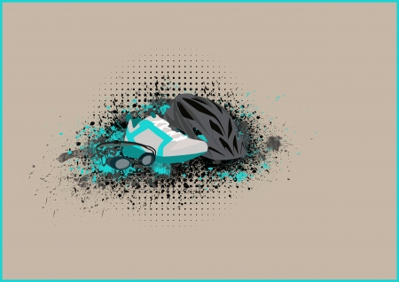 Abstract grunge triathlon tools background with space photo