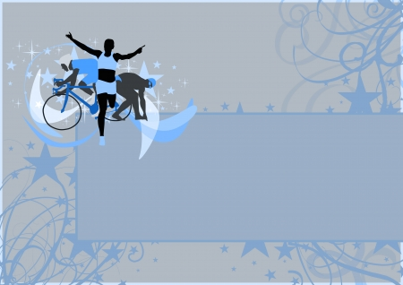 triathlon: Abstract grunge triathlon sport background with space Stock Photo