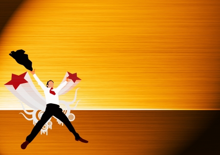Abstract Business man jump background with space photo