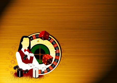 croupier: Abstract Roulette wheel an dealer girl background with space Stock Photo