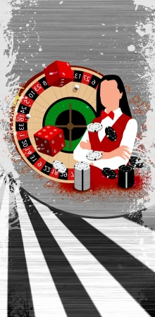 Abstract Roulette wheel an dealer girl background with space photo