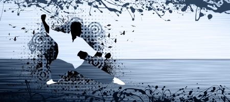 tai chi: Abstract grunge Kung fu or Tai Chi background with space Stock Photo