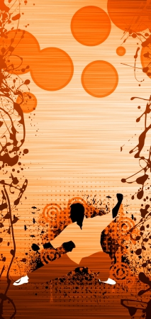 chi kung: Abstract grunge Kung fu or Tai Chi background with space Stock Photo