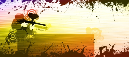 Abstract grunge color paintball background withs space photo
