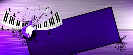 Abstract Piano and guitar background with space photo