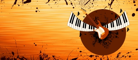 grungy background: Abstract Piano and guitar background with space Stock Photo