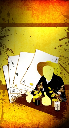 texas hold em: Abstract grunge Western poker background with space