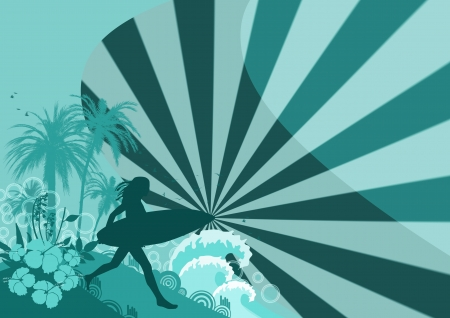 Abstract color woman surf background with space photo
