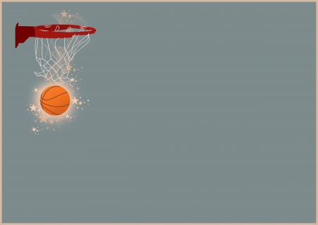 Abstract color basketball ring and ball background with space photo