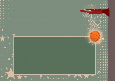 team victory: Abstract color basketball ring and ball background with space Stock Photo