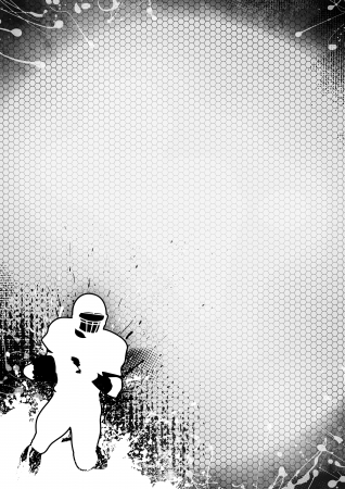 dirty football: Abstract grayscale american football background with space Stock Photo