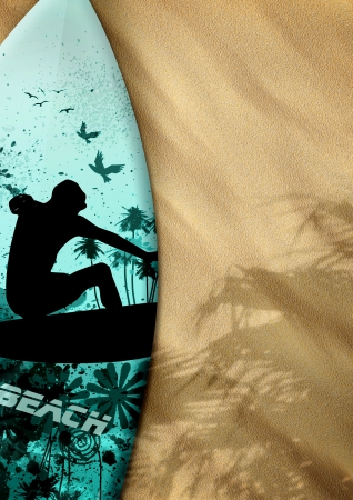 surfboards on sand color background with space photo