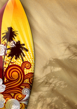 surfboard: surfboards on sand color background with space