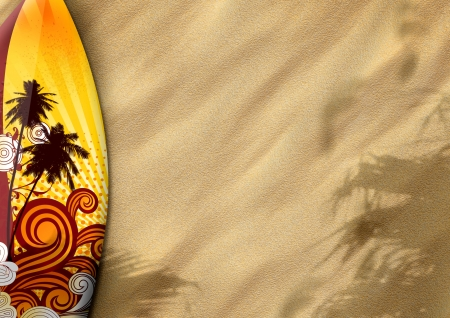 surfboards on sand color background with space Stock Photo - 14983513