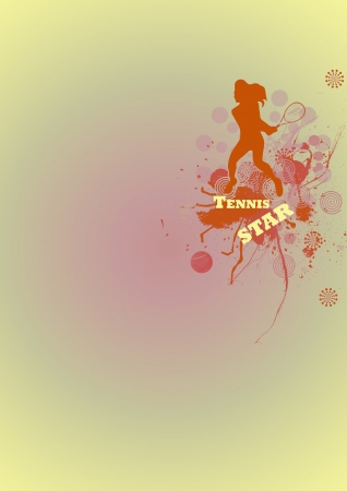 Abstract tennis player background with space photo