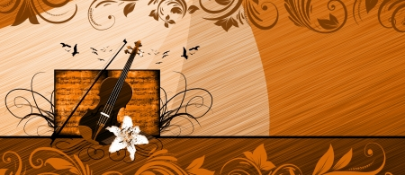 Abstract color violin music bacground with space photo