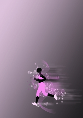 Abstract Young woman running background with space photo