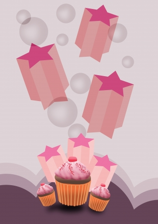 Abstract Party cake card background with space photo