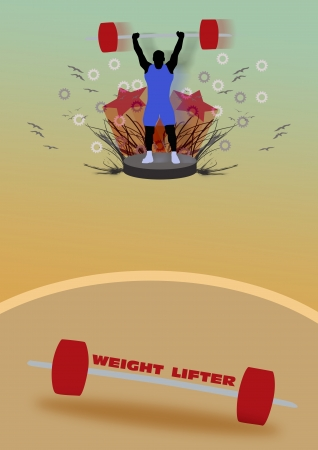Abstract color Weight-lifter poster background with space photo