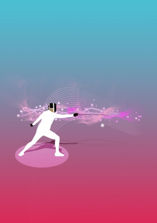 fencing sword: Abstract color fencing poster background with space