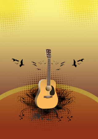 classical guitar: Abstract color guitar concert poster background with space Stock Photo