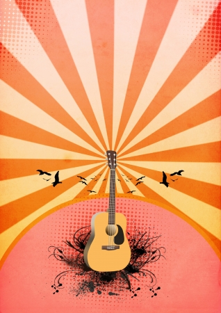Abstract color guitar concert poster background with space photo