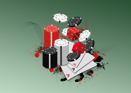 casino tokens: Abstract poker card and chips background with space