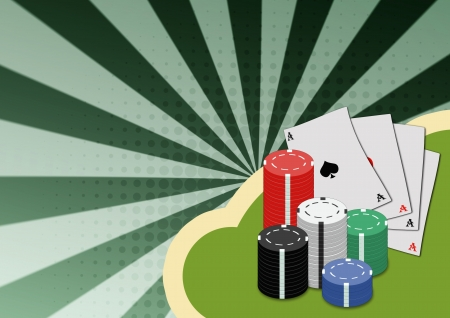 all in: Abstract poker card and chips background with space