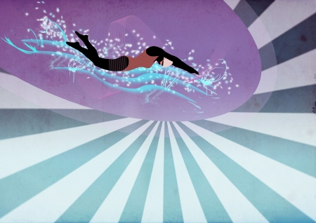 Abstract color swimming woman background with space photo