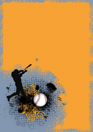 Abstract grunge baseball man and ball background with space photo