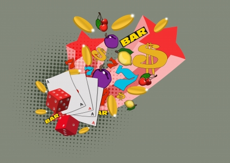 lasvegas: Casino dice, card fruits star and more item background with space