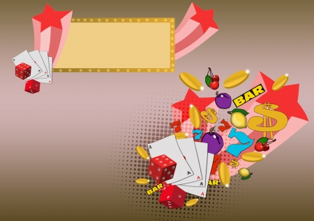toke: Casino dice, card fruits star and more item background with space