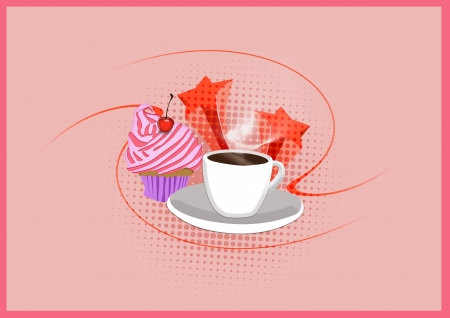 Cupcake and coffee Dessert background with space photo