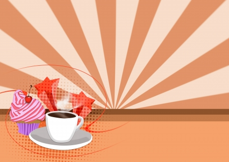 drawing table: Cupcake and coffee Dessert background with space