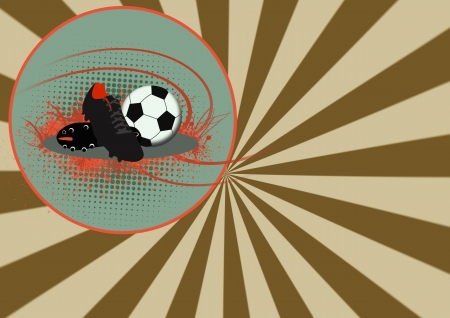 Soccer shoe and ball background with space  photo