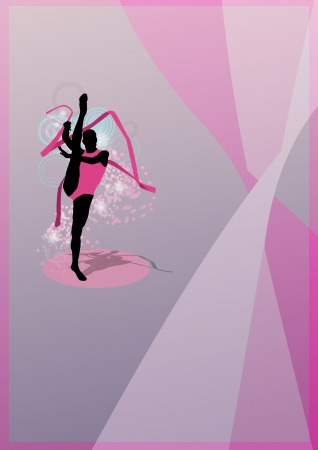 outline women: Color Rhythmic gymnastics sport background with space Stock Photo
