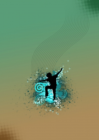 spattered: Color Skate jumping man background with space