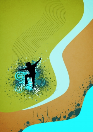 Color Skate jumping man background with space photo