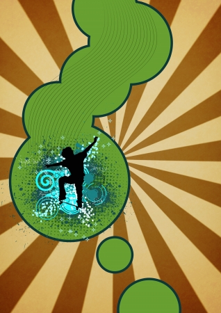 Color Skate jumping man background with space Stock Photo - 15162654