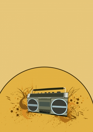 Music Tape recorder color background with space photo