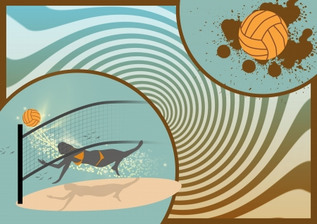 Color beach Volleyball sport background with space