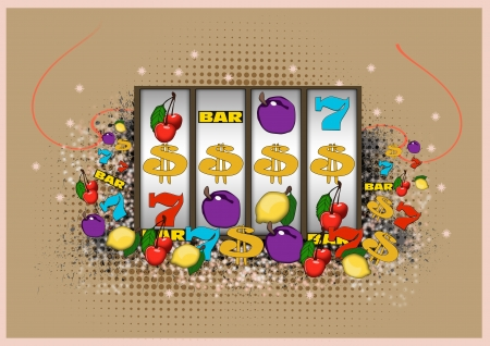 armed: Lucky casino Slot machine background with space Stock Photo