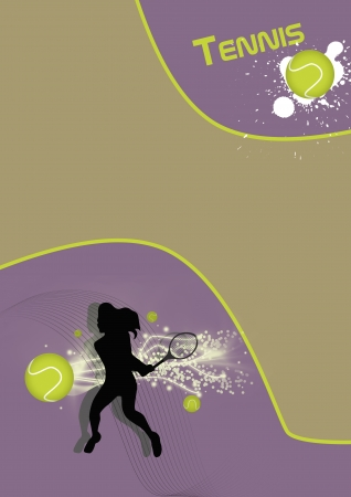 Abstract tennis poster with tennis ball and player background photo