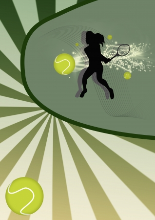 Abstract tennis poster with tennis ball and player background Stock Photo - 15160002