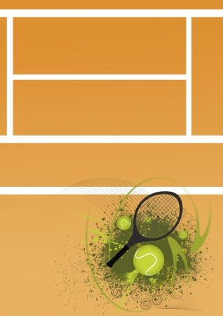 Tennis ball and racket background with space  Stock Photo