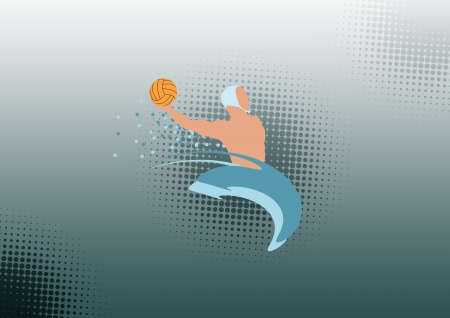 ball on water: Color Water polo sport background with space